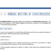 Notice of Annual Meeting of the Shareholders